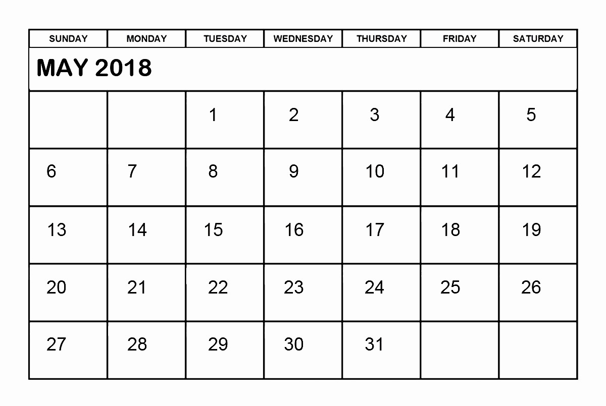 Ms Word Calendar Template 2018 Inspirational May 2018 Calendar Word Printable