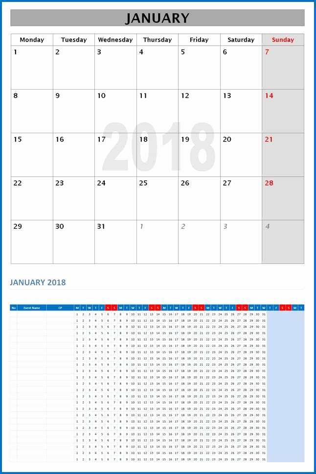 Ms Word Calendar Template 2018 Luxury 2018 Monthly Calendar Template