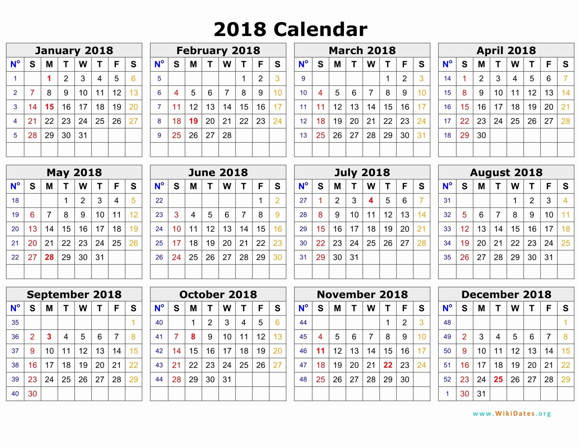 Ms Word Calendar Template 2018 New 2018 Calendar Word