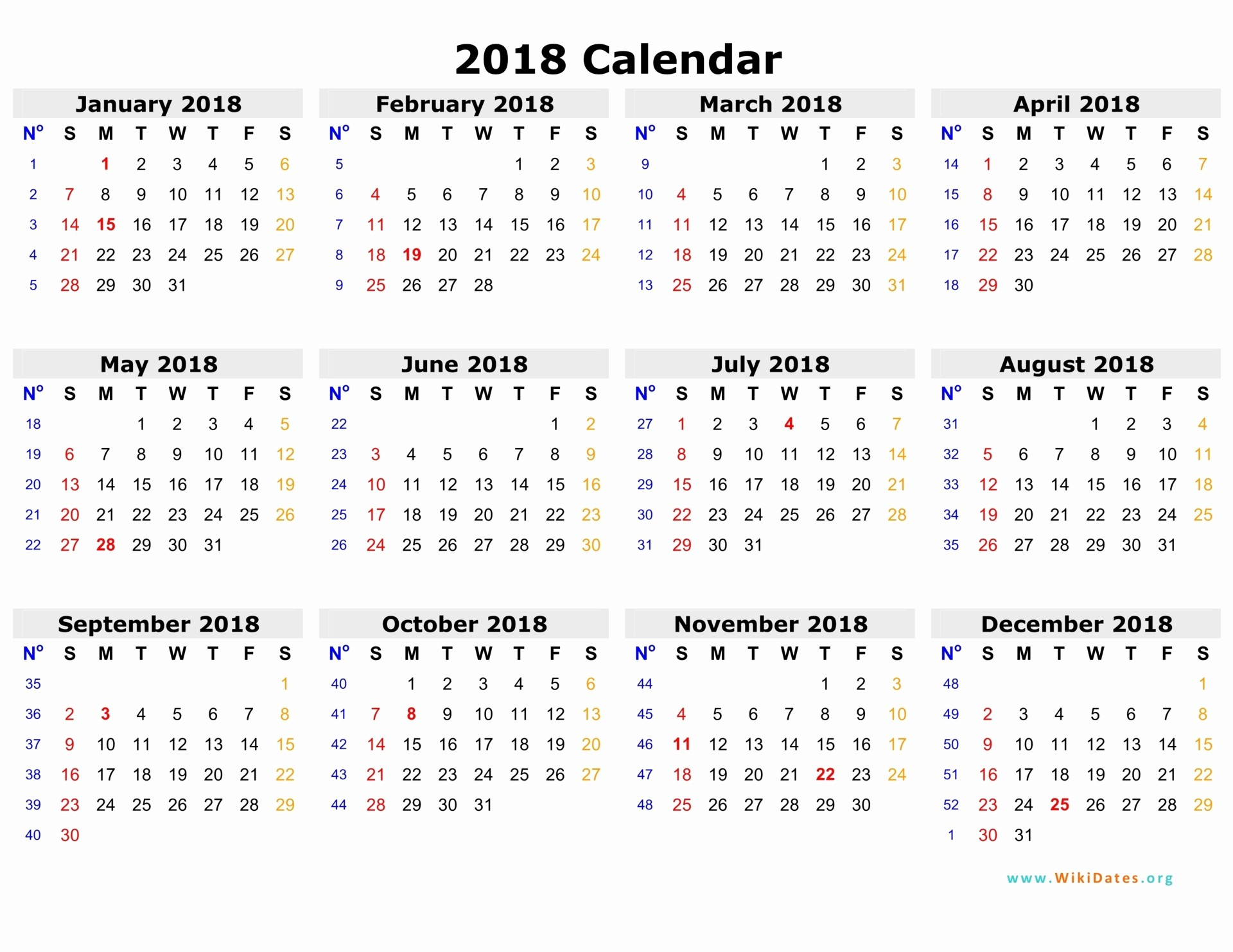 Ms Word Calendar Template 2018 New 2018 Calendar Word