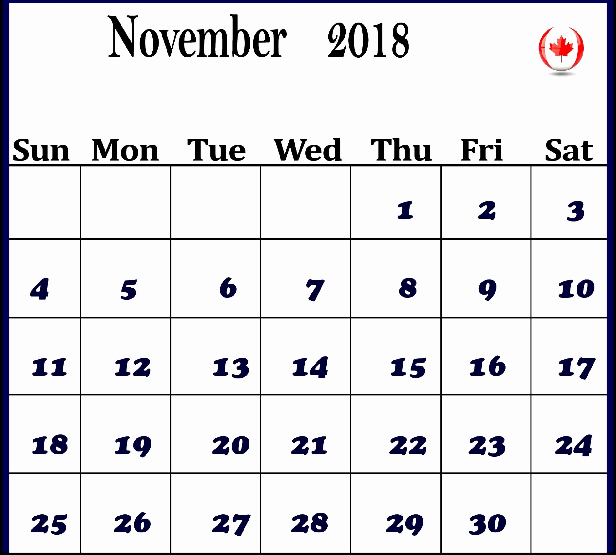 Ms Word Calendar Template 2018 New November 2018 Calendar Ms Word Example