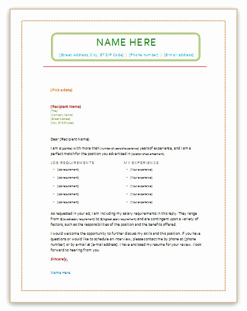 Ms Word Cover Letter Template Best Of Cover Letter Example Cover Letter Template Microsoft Word