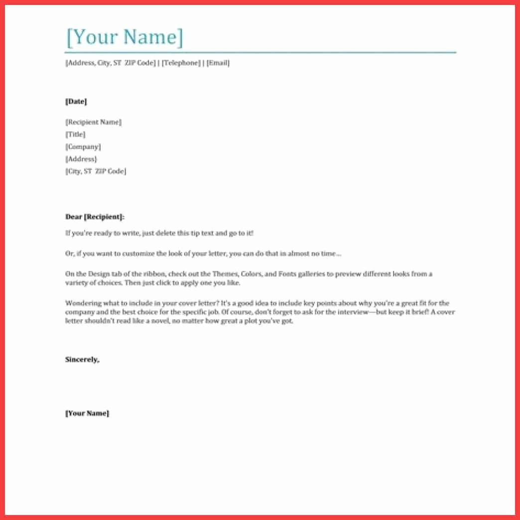 Ms Word Cover Letter Template Fresh Cover Letter Microsoft Word