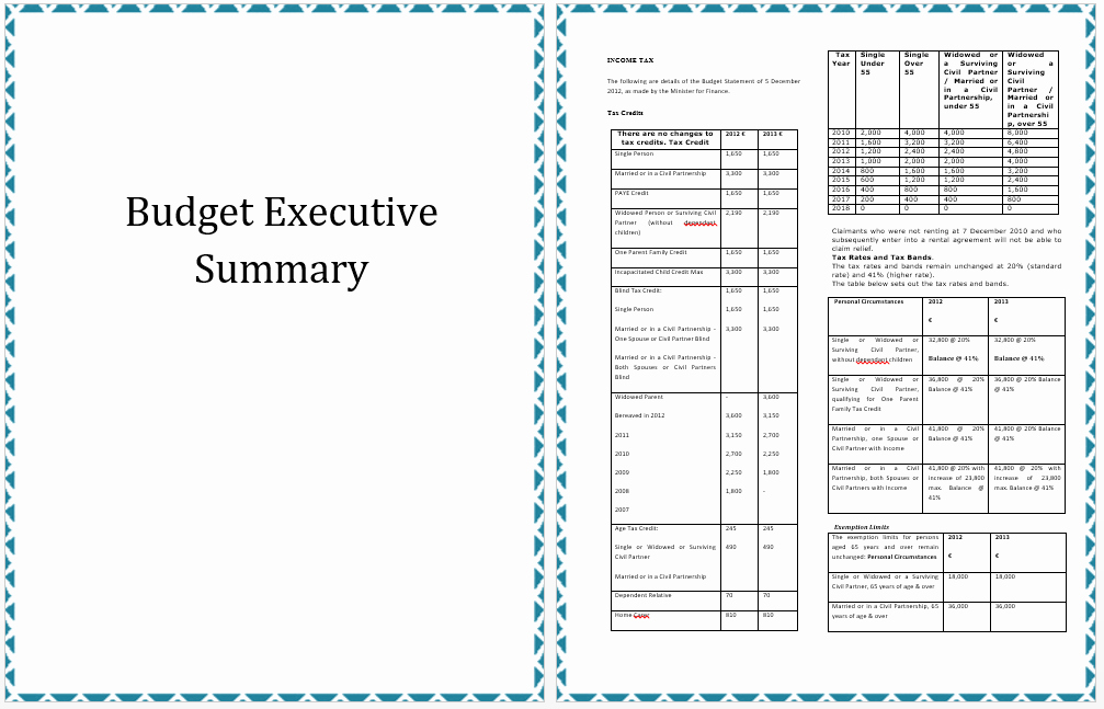Ms Word Executive Summary Template Awesome Executive Summary Template Of Annual Bud Planning