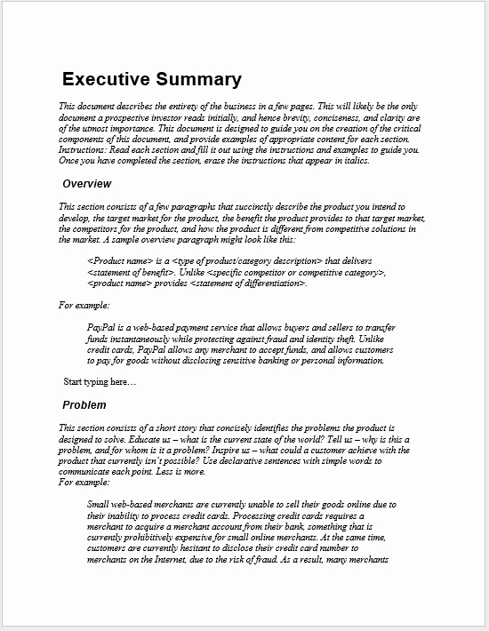 Ms Word Executive Summary Template Beautiful 29 Free Executive Summary Templates Word Templates