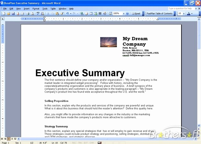 Ms Word Executive Summary Template Beautiful Download Free Fastplan Business Plan Fastplan Business