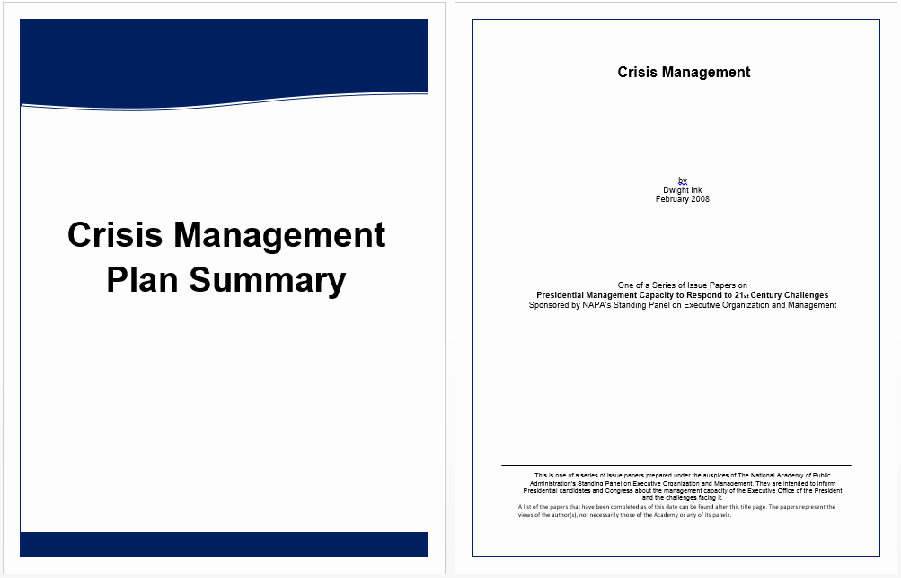 Ms Word Executive Summary Template Luxury Executive Summary Template for Crisis Management