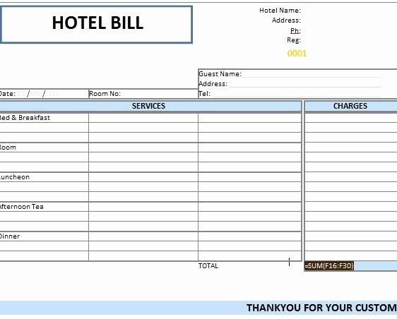 Ms Word Invoice Template Download Fresh Hotel Invoice Template Excel Download Hotel Bill format In