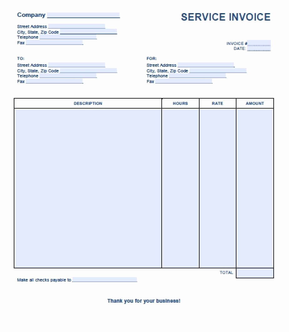 Ms Word Invoice Template Download Inspirational Free Service Invoice Template Excel Pdf
