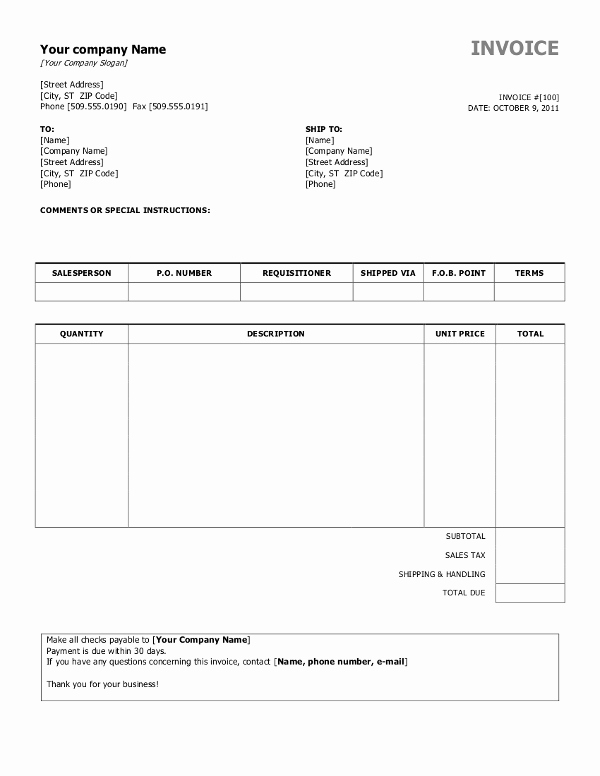 Ms Word Invoice Template Download Unique Free Invoice Templates for Word Excel Open Fice