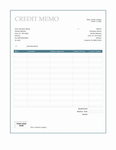 Ms Word Memo Templates Free Fresh Credit Memo Template Microsoft Word Templates