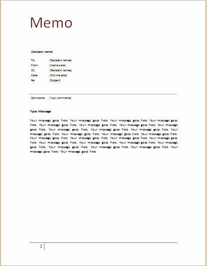 Ms Word Memo Templates Free Lovely Ms Word Memo Template