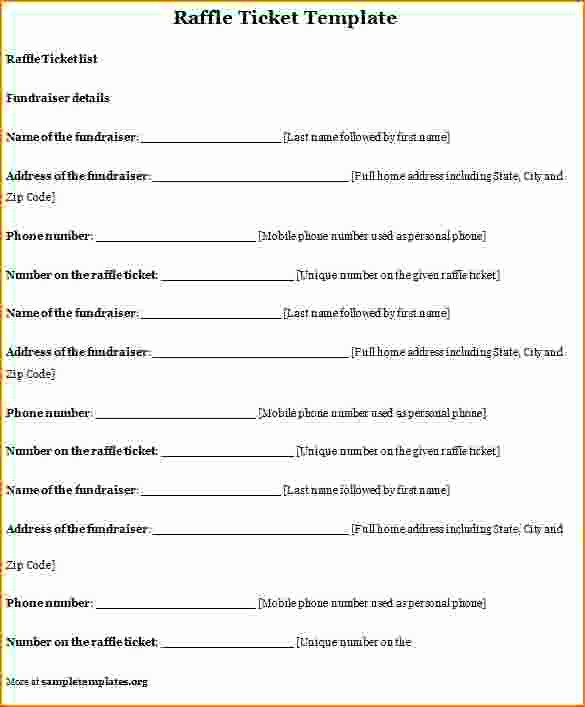 Ms Word Raffle Ticket Template Elegant Lottery Ticket Template Microsoft Worddownload Free