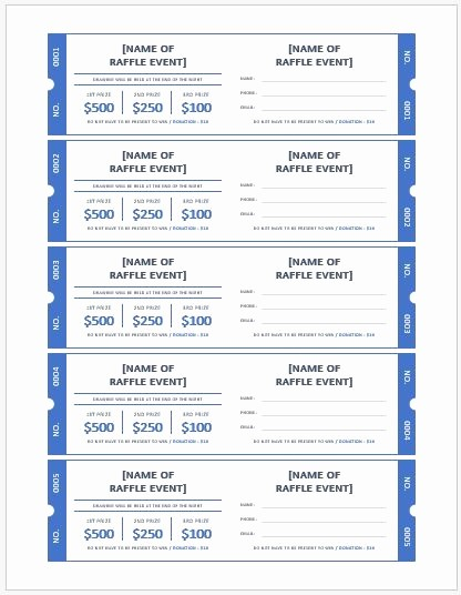 Ms Word Raffle Ticket Template Inspirational Ms Word Raffle Ticket Templates