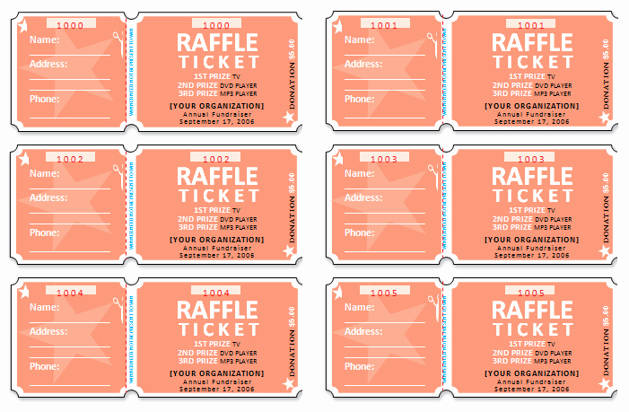 Ms Word Raffle Ticket Template Unique 45 Raffle Ticket Templates