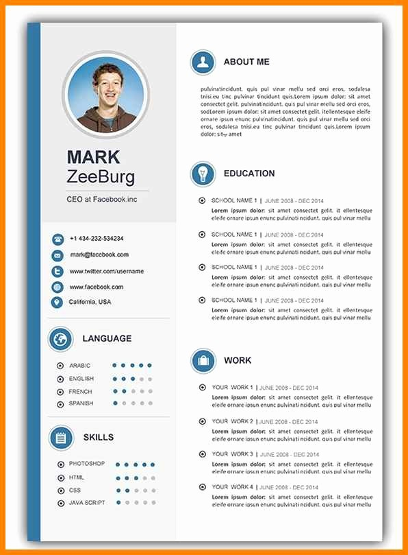 Ms Word Resume Templates Free Inspirational 20 Cv Template Word
