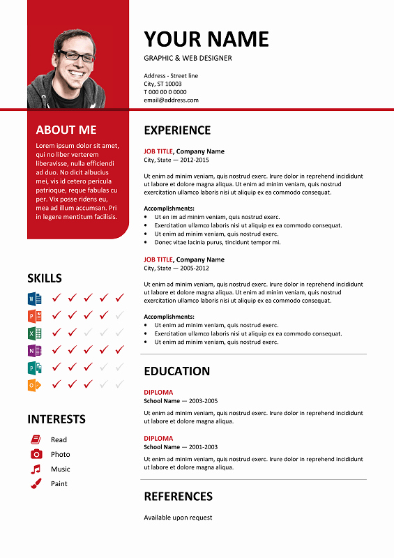 Ms Word Resume Templates Free Inspirational Bayview Free Resume Template Microsoft Word Red Layout