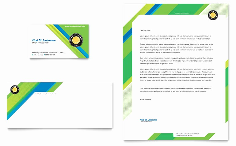 Ms Word Template Business Card Beautiful Tennis Club & Camp Business Card & Letterhead Template