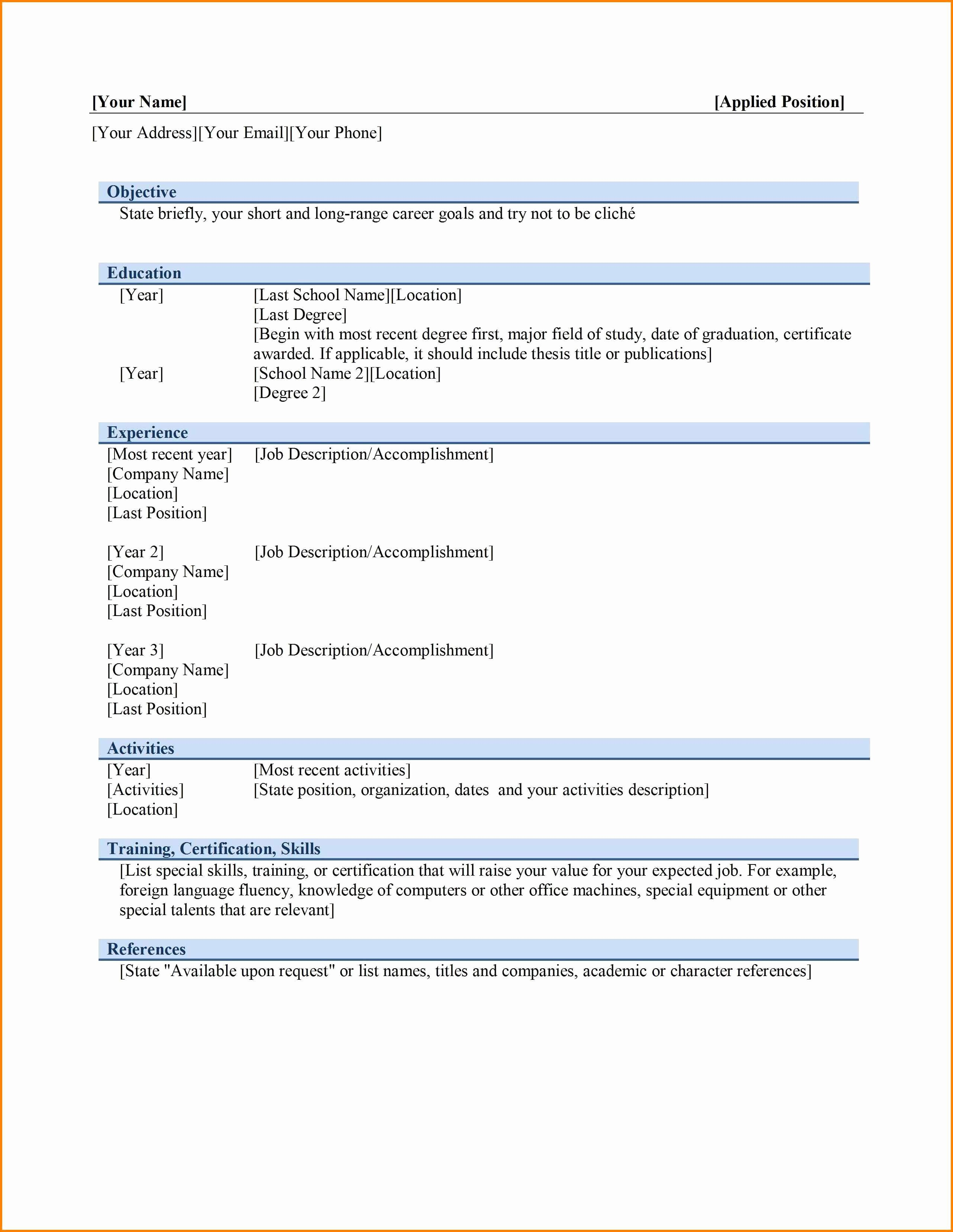 Ms Word Template for Resume Elegant 6 Best Cv format In Ms Word