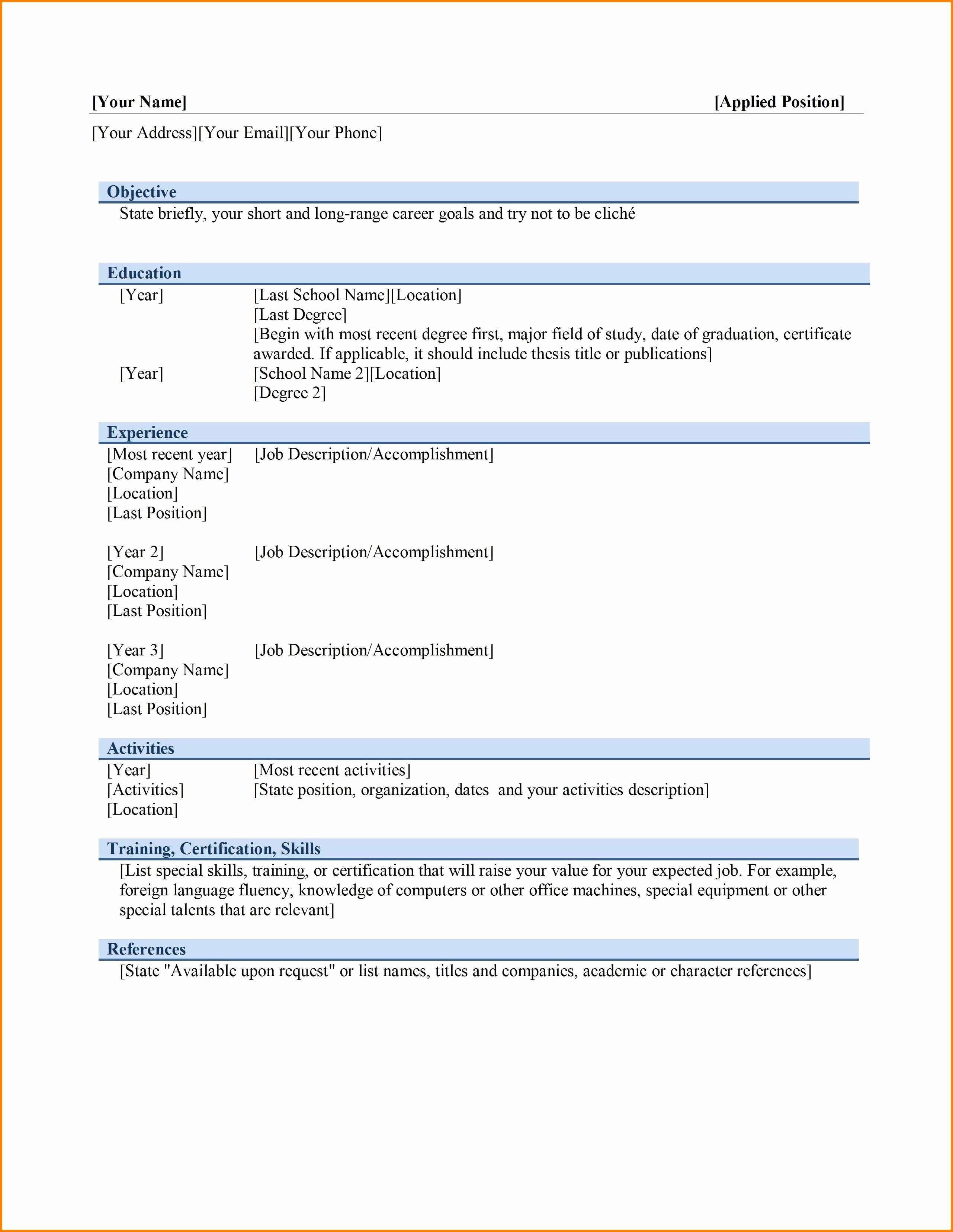Ms Word Template for Resume Elegant 6 Best Cv format In Ms Word