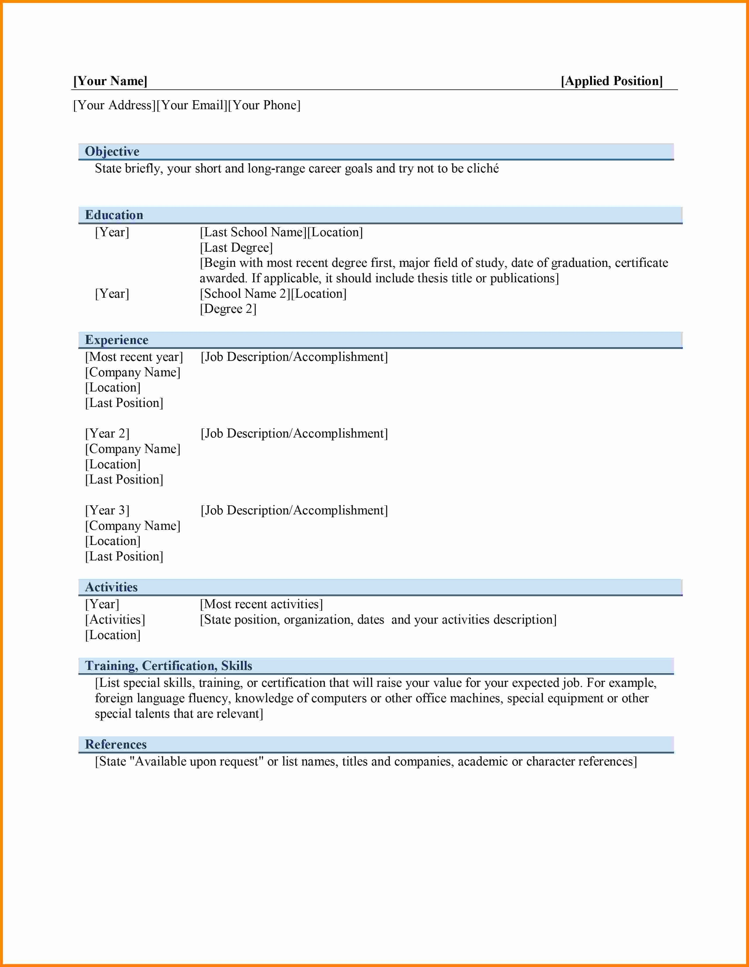 Ms Word Template for Resume Lovely 6 Curriculum Vitae In Ms Word