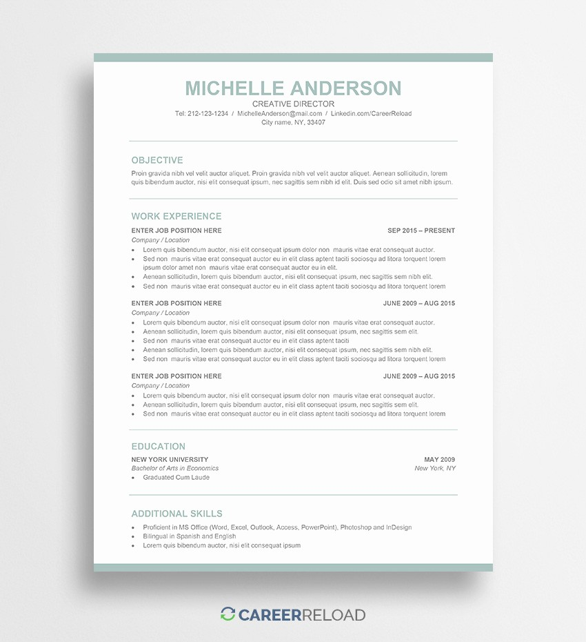 Ms Word Template for Resume Lovely Free Word Resume Templates Free Microsoft Word Cv Templates