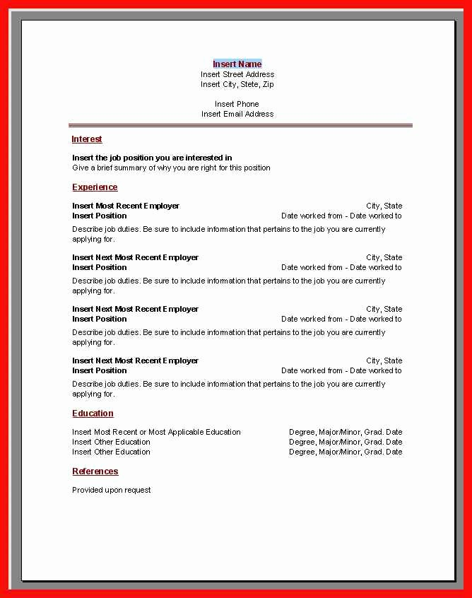 Ms Word Templates for Resume Elegant Resume Template Microsoft