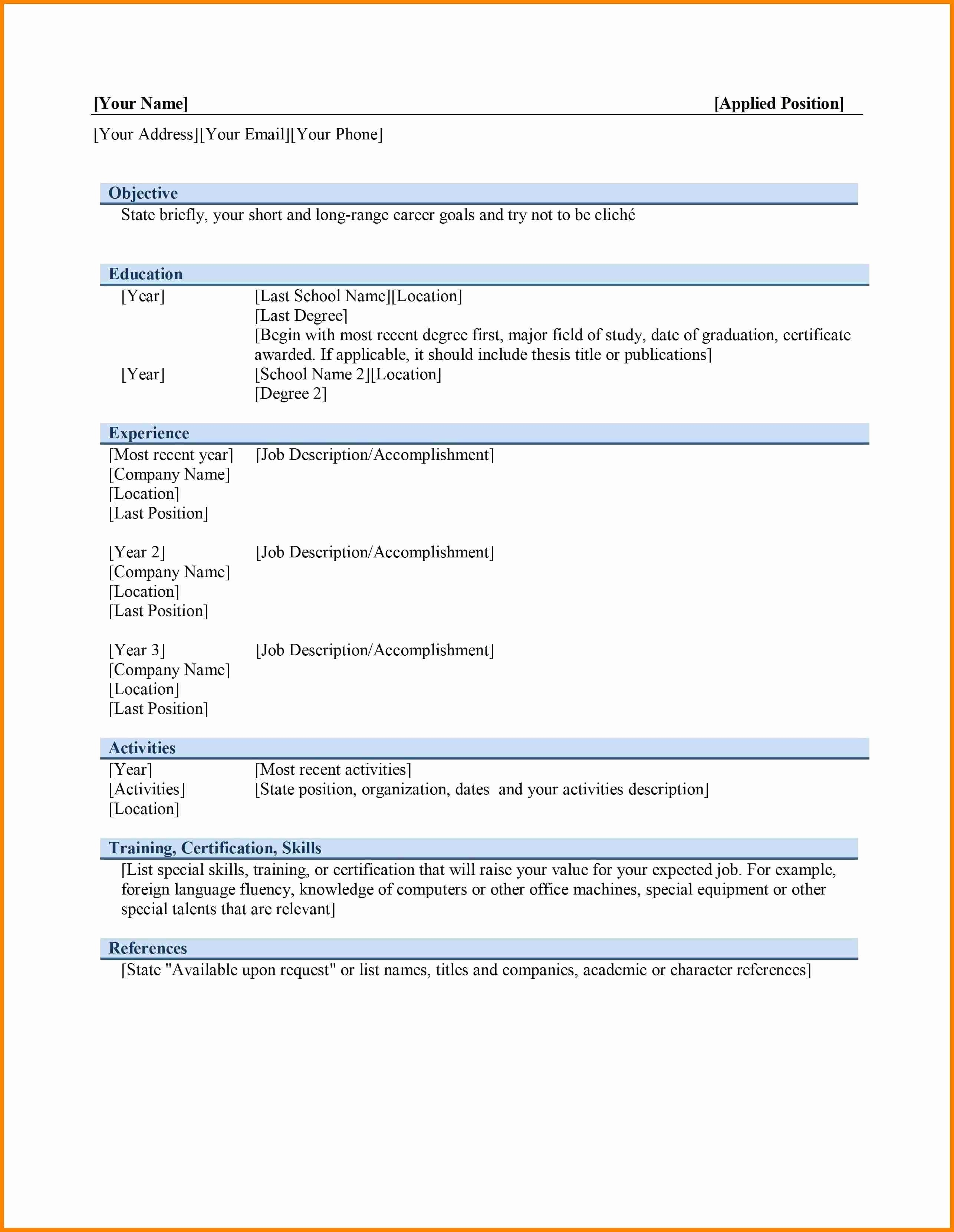 Ms Word Templates for Resume Lovely Microsoft Word Free Resume Templates Download Sidemcicek