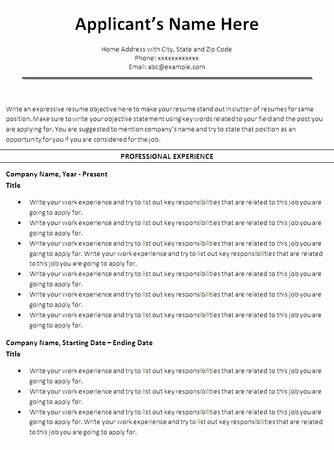 Ms Word Templates for Resumes Best Of Free Chronological Resume Template Microsoft Word Free