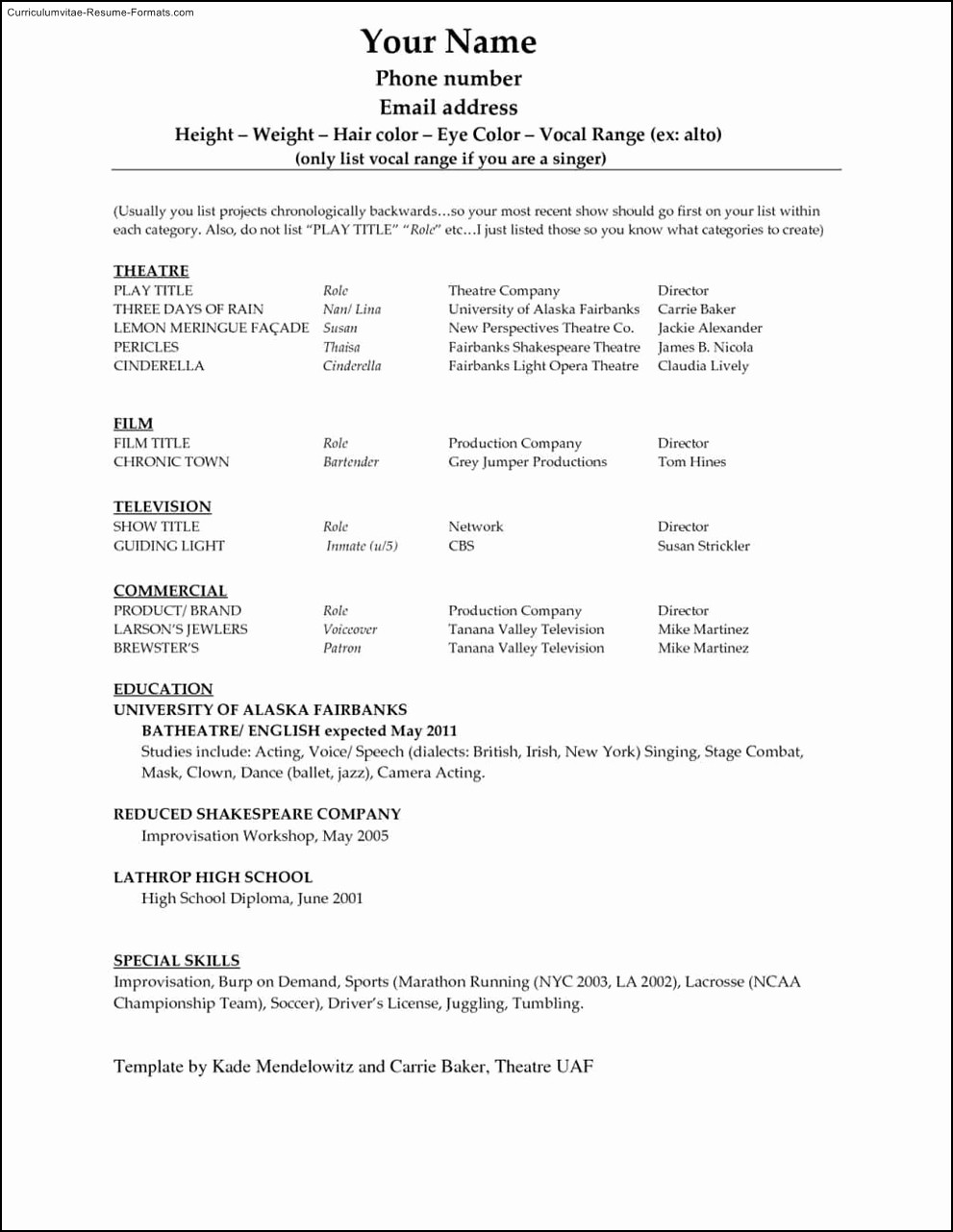 Ms Word Templates for Resumes Unique Microsoft Word 2010 Resume Template Free Samples
