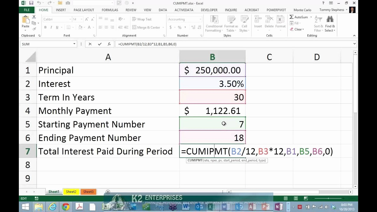 Multiple Loan Repayment Calculator Excel Unique Using Excel S Cumipmt Function to Determine Interest Paid