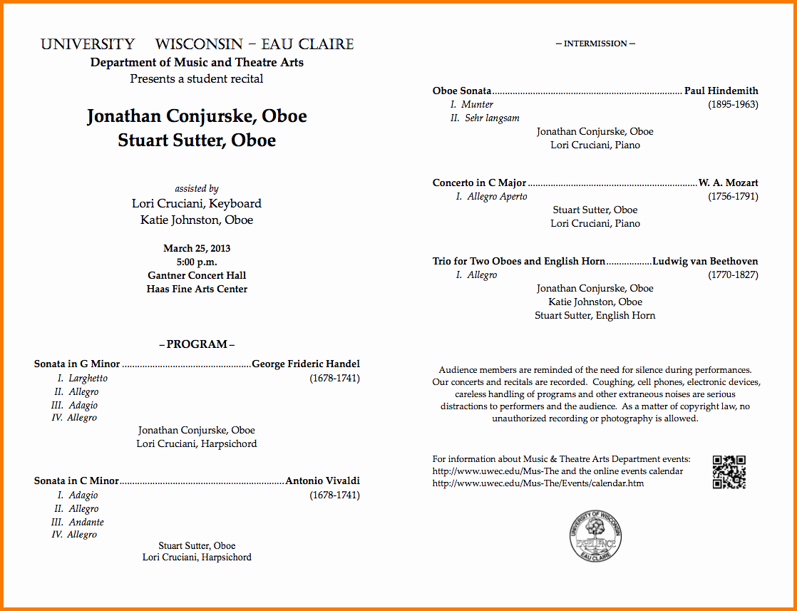 Music event Program Template Word Awesome Music Program Template