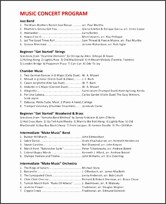 Music event Program Template Word Beautiful 10 School Music event Program Template Sampletemplatess