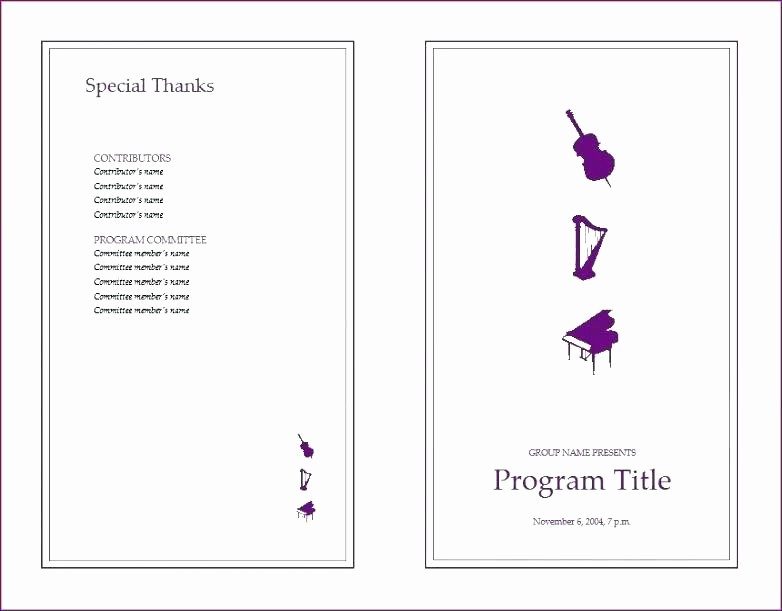 Music event Program Template Word Best Of event Program Itinerary Template format Word 2007