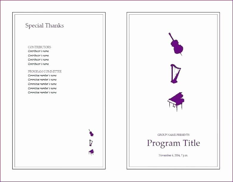 Music event Program Template Word Best Of event Program Itinerary Template format Word 2007