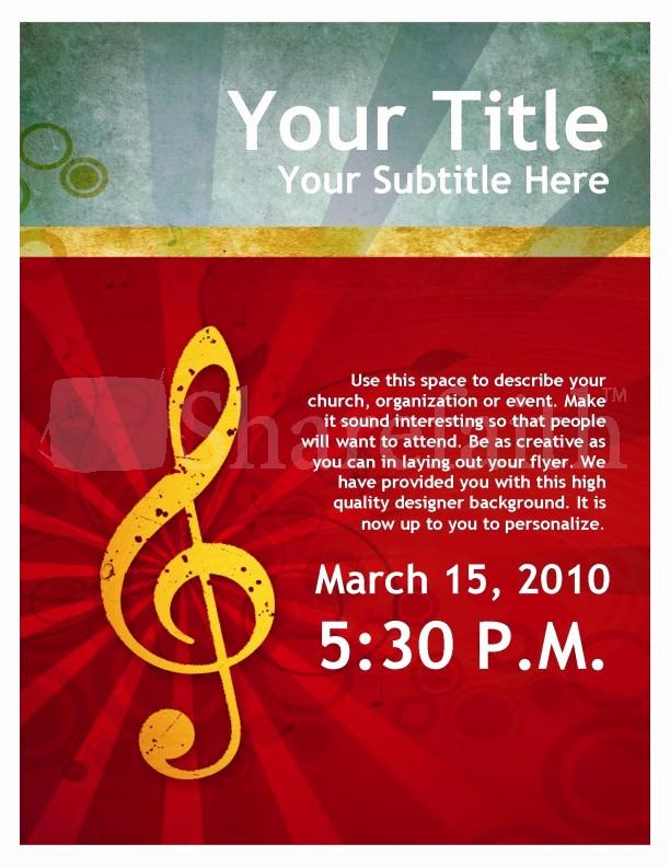 Music event Program Template Word Fresh Music Service Flyer