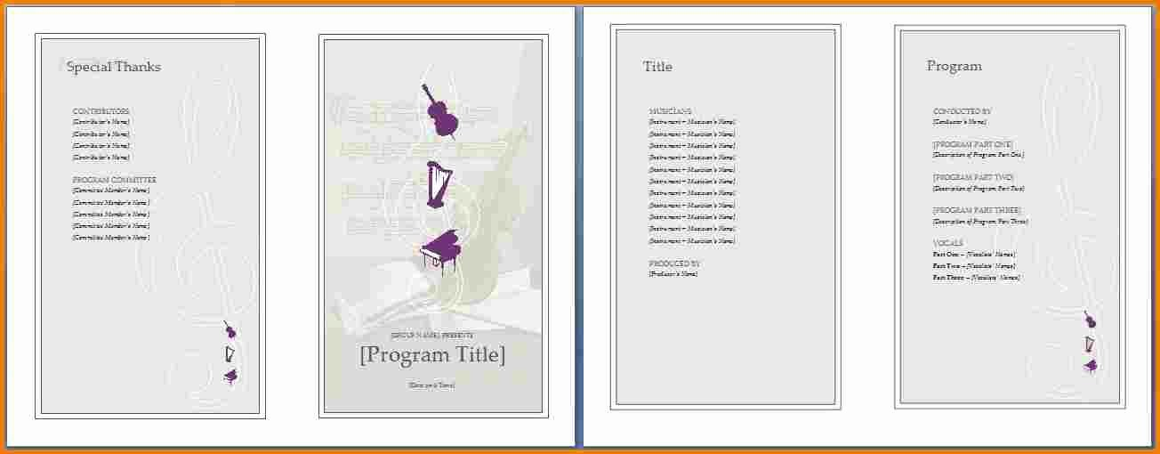 Music event Program Template Word Inspirational Music Program Template