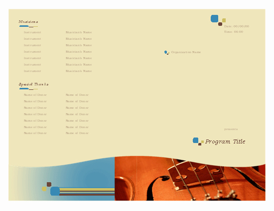 Music event Program Template Word Lovely Music event Program Template