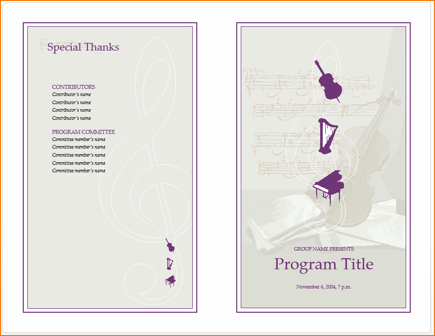 Music event Program Template Word New 6 Music Program Template