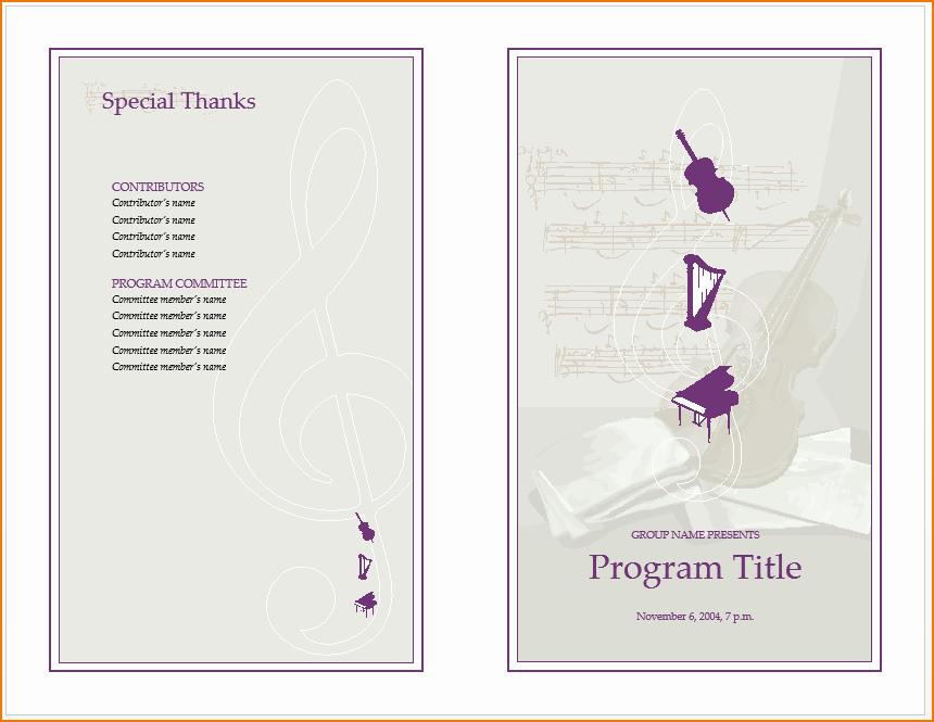 Music event Program Template Word New 6 Music Program Template