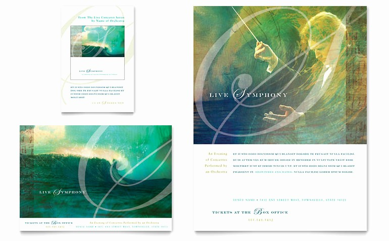Music event Program Template Word New Symphony orchestra Concert event Flyer & Ad Template