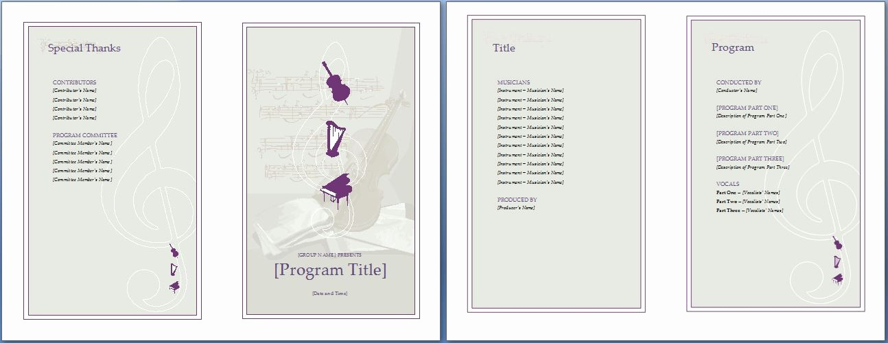 Music event Program Template Word Unique Music event Program Invitation Template