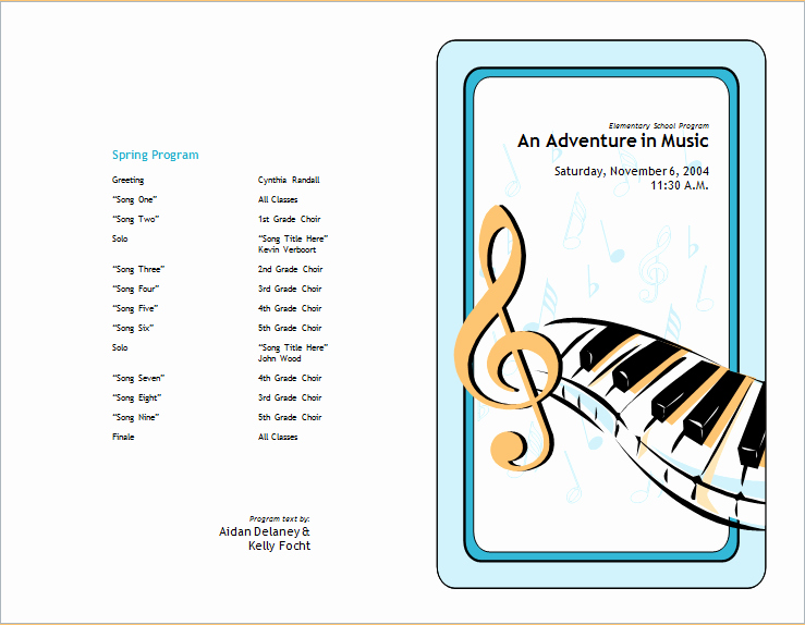 Music event Program Template Word Unique School Concert event Brochure Template for Word