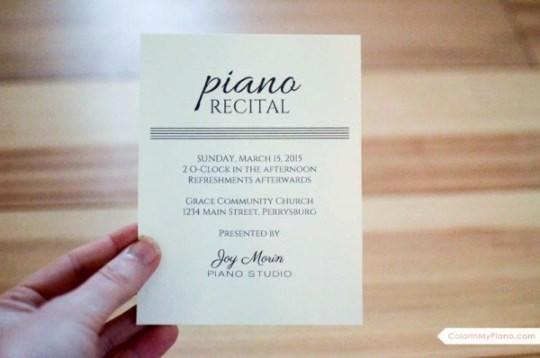 Music Recital Program Templates Free Awesome Recital Invitation & Program Template Color In My Piano