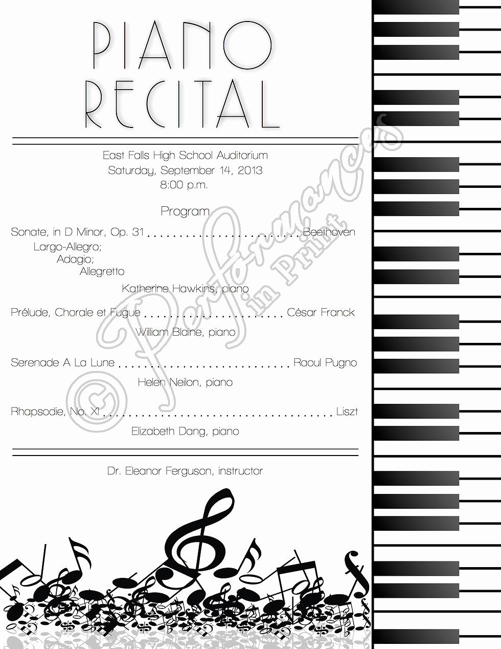 Music Recital Program Templates Free Beautiful Piano Recital Concert Music Program