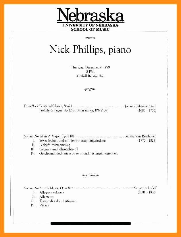 Music Recital Program Templates Free Best Of 10 11 Concert Program Word Template