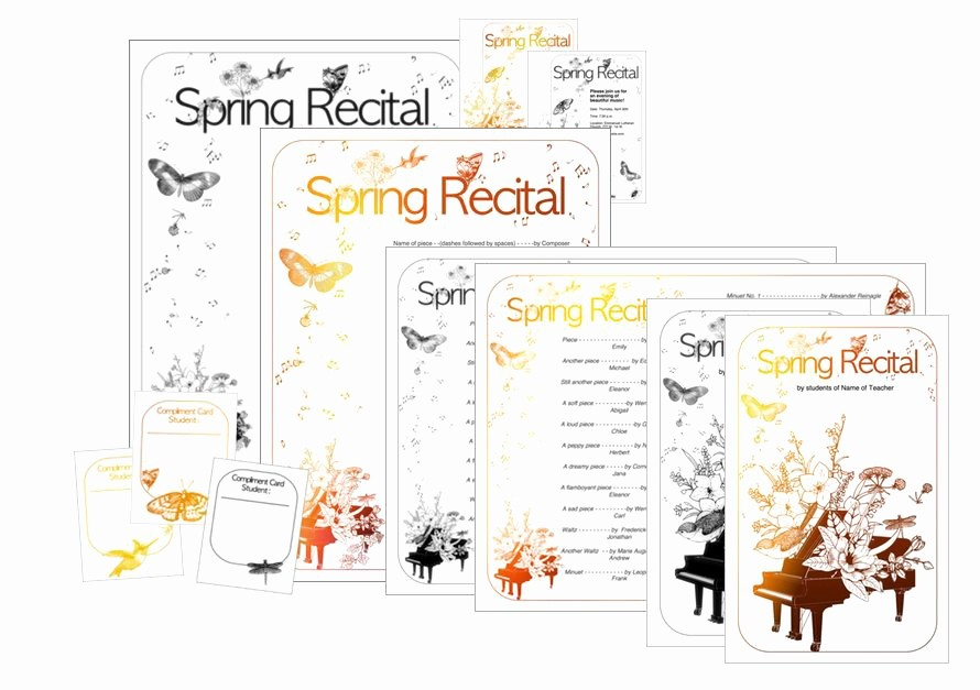 Music Recital Program Templates Free Elegant New Spring Recital Template Edit A Doc Pages or Pdf