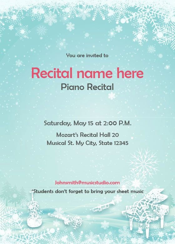 Music Recital Program Templates Free Elegant Winter theme Recital Invitation