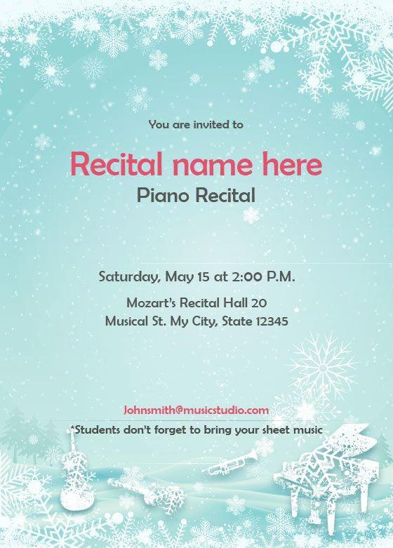 Music Recital Program Templates Free Elegant Winter theme Recital Invitation