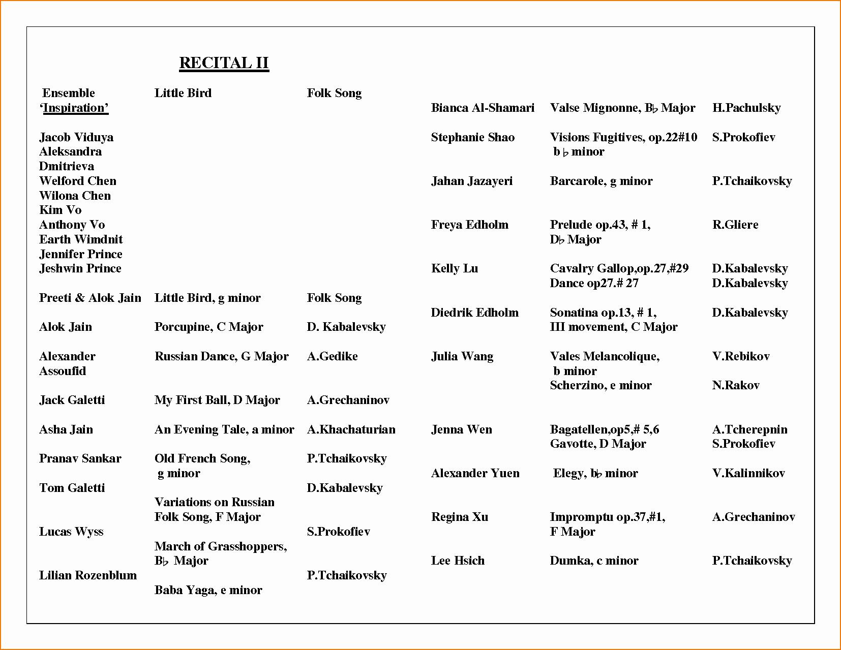 Music Recital Program Templates Free Fresh 6 Music Program Template